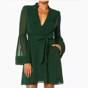 Love Riche Womens Long Sleeve Faux Wrap Dress